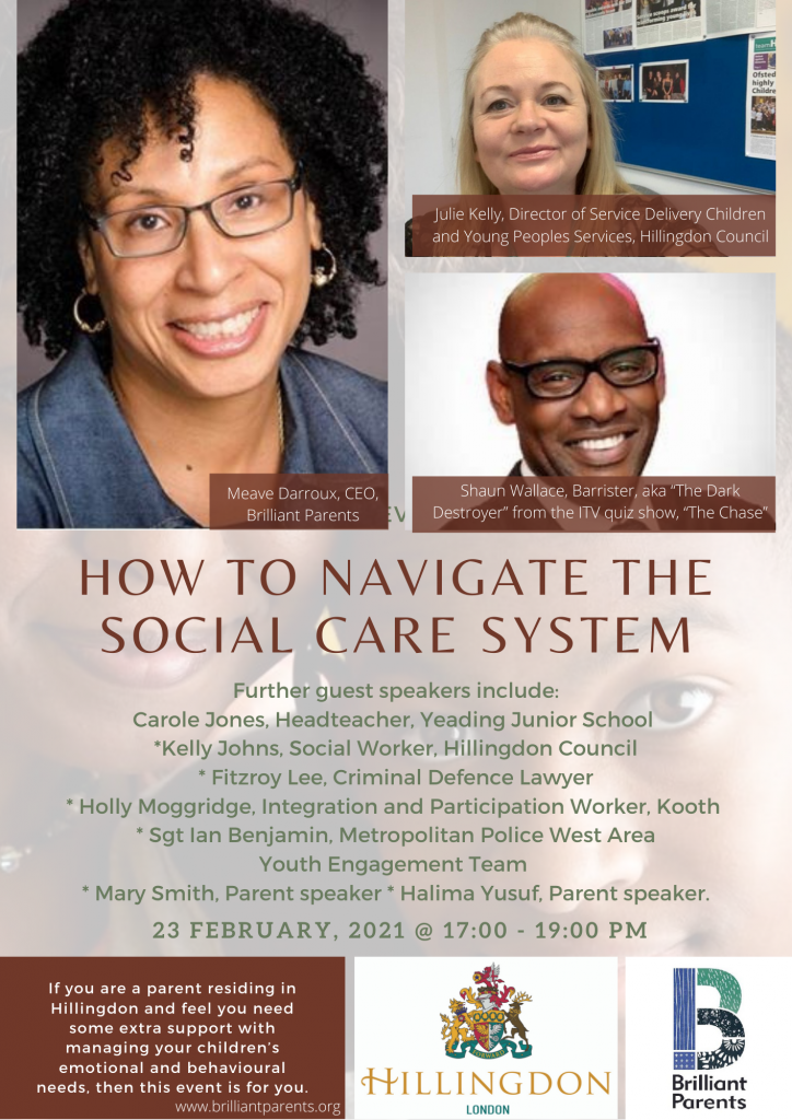 """""""How to navigate the social care system"""" Online event flyer"""